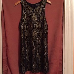 Black and gold lace dress